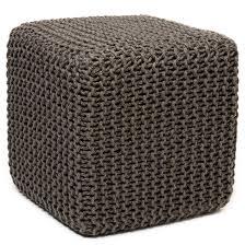 Livingroom Accessories Furniture Cobalt Blue Knit Pouf Ottoman For Living Room