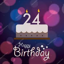 happy 24th birthday bokeh vector background with cake stock