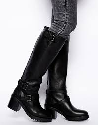 mens high heel motorcycle boots mango knee high biker boots in black lyst