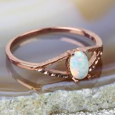 opal silver rings images Rose gold sterling silver opal ring jewellery lisa angel jpg