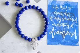 glass bead bracelet charms images Diamond charm sapphire blue glass bead bracelet violets jpg