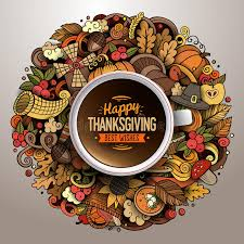 cup of coffee with thanksgiving doodle design stock vector image