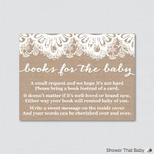 burlap and lace baby shower printable bring a book instead of