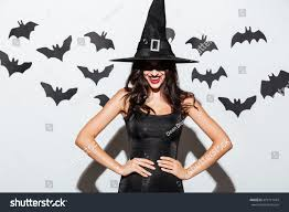 witch halloween background happy gothic young woman witch halloween stock photo 479711434