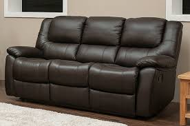 Leather 3 Seater Sofas Reclining 3 Seater Leather Sofa Suite In Espresso Brown