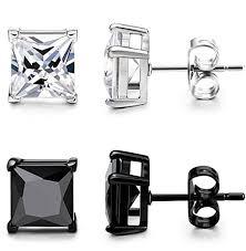 stainless steel stud earrings orazio 2 pairs mens womens stainless steel stud earrings square