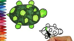 how to drawing and coloring turtle how to draw and color kids tv