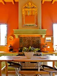 Vintage Kitchen Curtains by Wondrous Orange Spanish Style Kitchen Wall Painted Also Oak Wooden