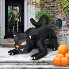 homcom halloween inflatable black cat decoration 1 2m w led