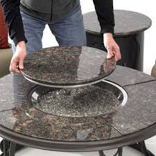 Patio Lawn And Garden Amazon Com Fire Pit Table With Granite Top And Lazy Susan Patio