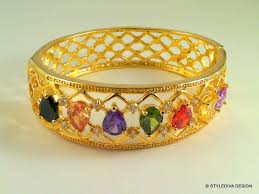 multi colored stones bracelet images Stylediva design zircon multi color stone studded gold bangle JPG