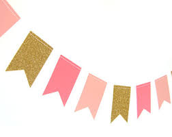 pink garland gold and pink paper flag garland gold glitter garland gold