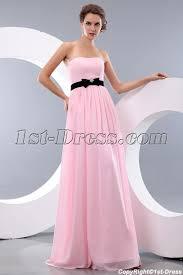 Pink And Black Bridesmaid Dresses Simple Pink And Black Long Chiffon Bow Beach Bridesmaid Dresses