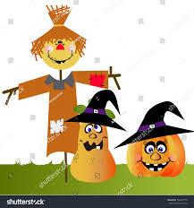 vector cartoon funny scarecrow two halloween stock vector
