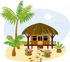 a cartoon image of a bungalow in the tropics stock vector art
