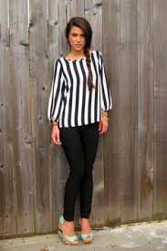 black and white striped blouse white lines black and white striped top front button and