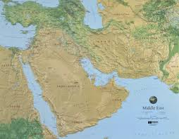 Middle East Physical Map by Raised Relief Country Maps