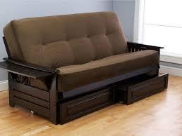 brown microfiber futon sofa bed centerfieldbar com
