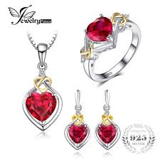 earring necklace ruby images Jewelrypalace love knot heart 8 4ct created ruby anniversary jpg