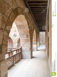 arch with wooden balustrades caravansary wikala of al ghuri