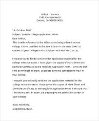 college application letter format letter template