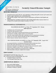 Security Job Resume by Government Armed Security Guard Cover Letter