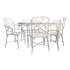 Patio Table 6 Chairs Brown Jordan Faux Bamboo Patio Table U0026 6 Chairs Chairish