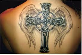 black ink holy cross and angel wings tattoo design on upper back