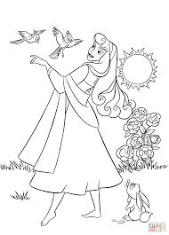 aurora with animals coloring page free printable coloring pages