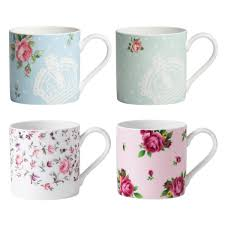 Pretty Mugs New Country Roses Assorted Modern Casual Mugs Set Of 4 Royal