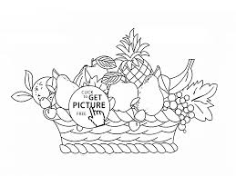 basket with many fruits coloring page for kids fruits coloring