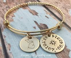 personalized bangle bracelet state pride custom coordinates personalized adjustable