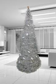 tree 5 collapsible pop up tinsel metallic cone modern