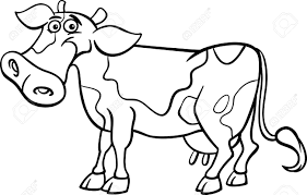 black and white cartoon illustration of funny spotted cow farm