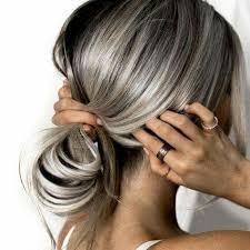 blonde streaks for greying hair silver hey streaks on fall brown brave enough pinterest