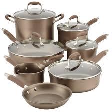 12 piece cookware set light brown anolon cookware