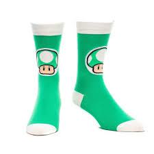 Super Socks Super Mario Bros Green Mushroom Men U0027s Socks
