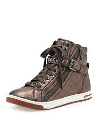 michael kors womens boots sale michael kors glam studded high top in metallic lyst