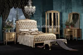 antique royal european style solid wood 5pcs bedroom furniture
