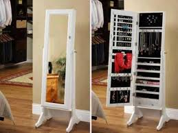 Dresser Top Jewelry Armoire White Wooden Jewelry Armoire Mirror With Simple Make Up Mirror For
