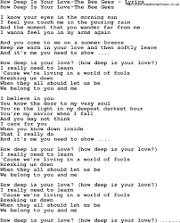 Light In Your Eyes Lyrics Love Song Lyrics For How Deep Is Your Love The Bee Gees