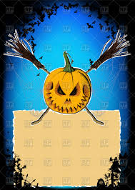 halloween poster pumpkin two crossed brooms with spider web