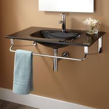 wall mount glass sink the wall mounted sink plus design plus silver faucets ideas put on