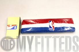 basketball headbands nba logo scarlet royal blue white basketball headband on