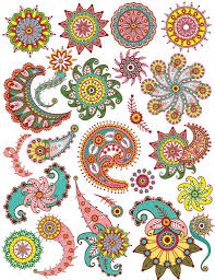 set of ornamental floral paisley elements for design stock