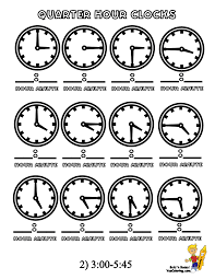 coloring pages quarter tell time quarter hour how to read clock free 15 min