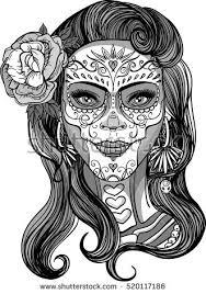 sugar skull makeup day dead stock vector 520117186