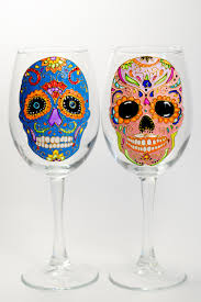 day of the dead home decor skull wine glasses halloween party favor day of the dead sugar