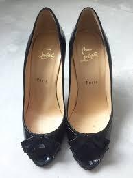 christian louboutin women black patent leather bow peep toe shoes pump