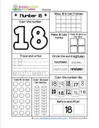 number worksheets for kindergarten number 18 worksheet